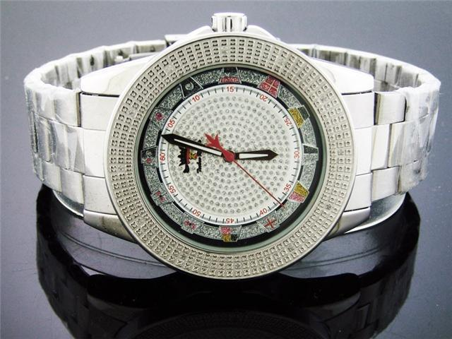 Techno Royale 50MM Round Silver Tone 12 Diamonds Watch