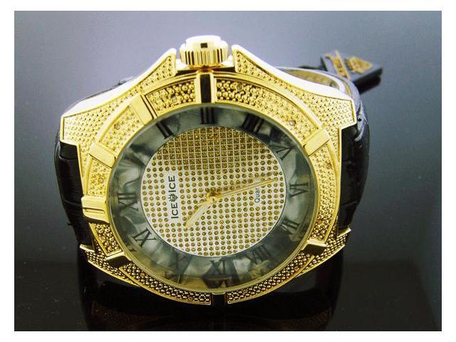 Ice Ice By Icetime 50 MM 10 Diamonds Yellow Gold Watch