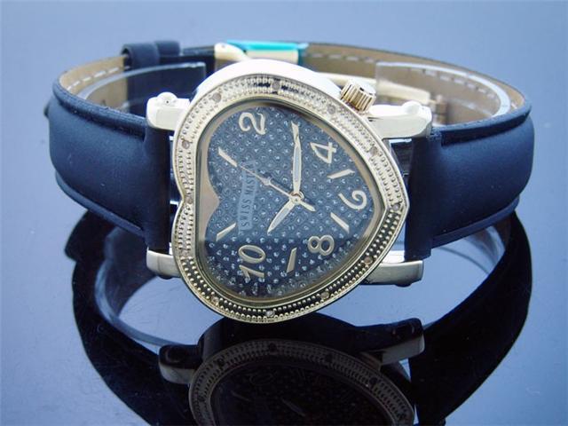 Swiss Master By KM Large Heart 12 Diamonds Watch Black