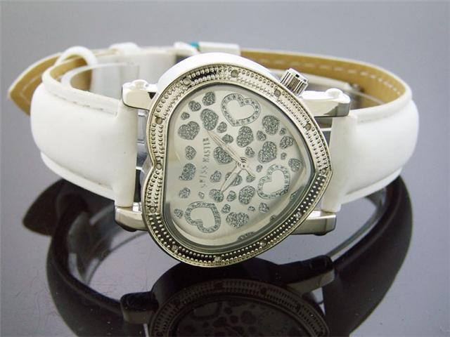 Swiss Master By KM Large Heart 12 Diamonds Watch White