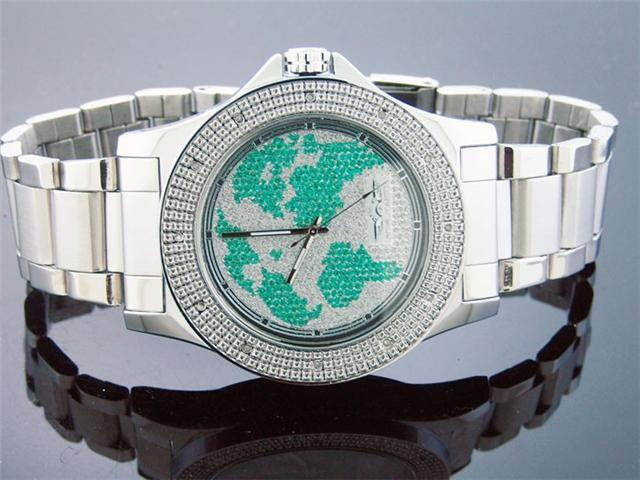 Men King Master 50MM Round 12 Diamond World Face watch