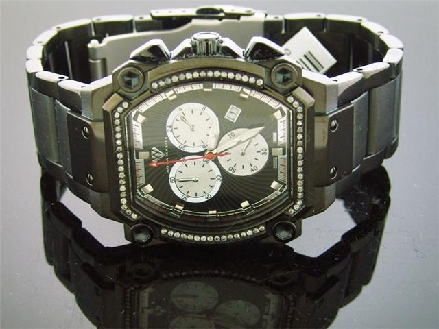 New Aqua Master 0.75CT Black Case Diamond watch