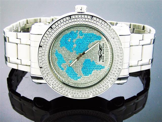 King Master 12 Diamond Watch with World Face Metal Band