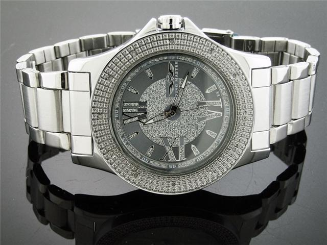 Men King Master 50MM Round 12 Diamond Silver Face watch