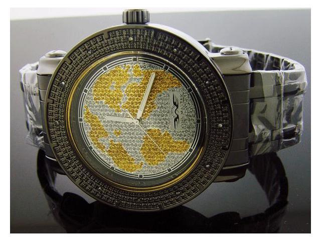 King Master 12 Diamond Watch with Black Case World Face
