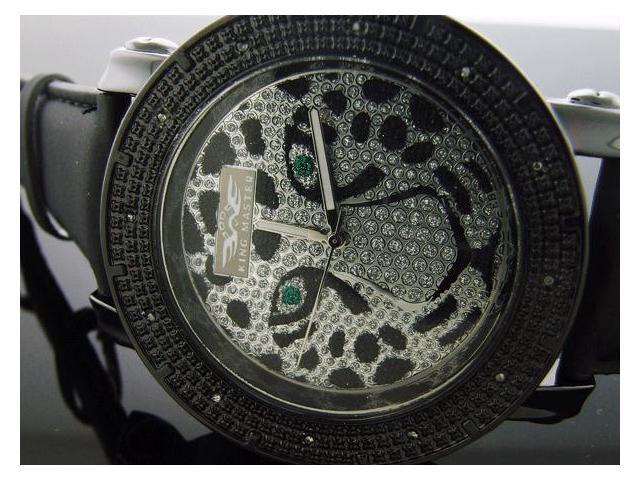 King Master 12 Diamond Watch with Black Case Tiger Face