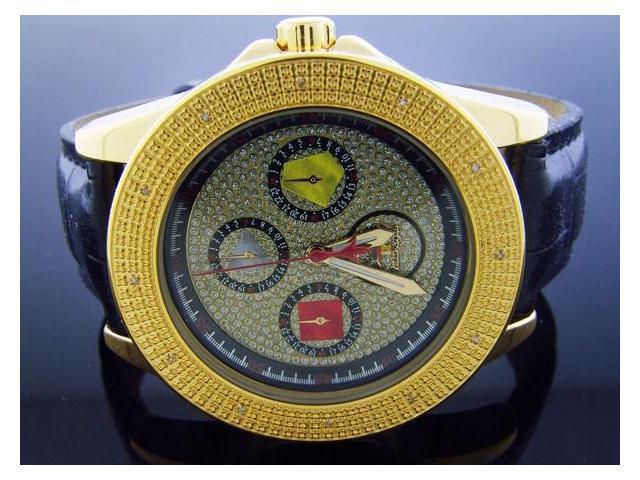 Techno Royale 50mm Round Yellow Gold 12 Diamonds Watch
