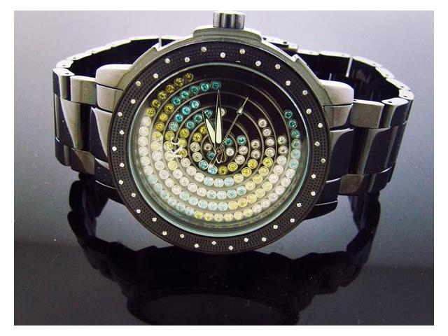 Techno Com by KC 50MM .40CT Diamond Watch Floting Stone