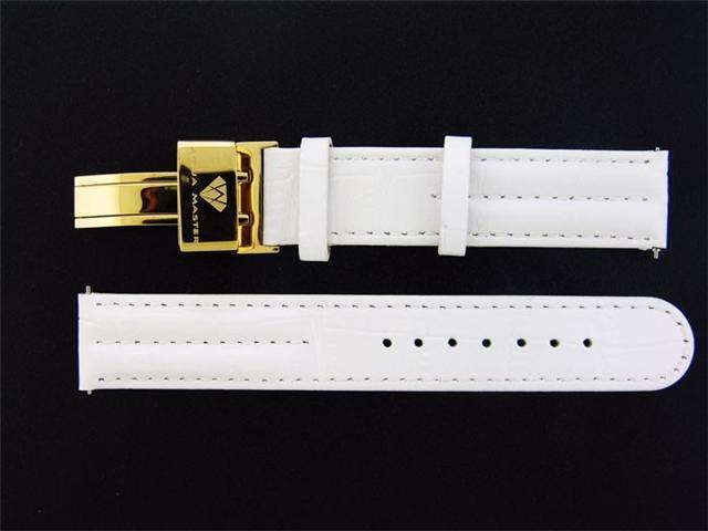New Aqua Master Single pin leather band 18mm WHITE