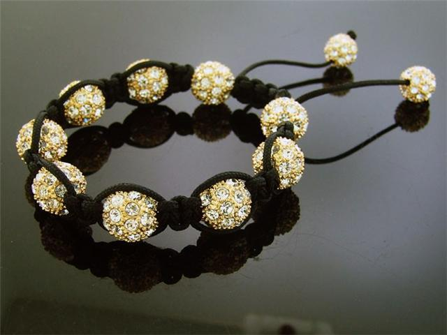 Big Yellow Gold Bead CZ Bracelet 12MM With Disco Ball