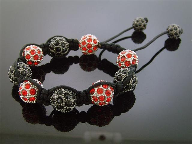 Big Bead Red & Black CZ Bracelet 12MM