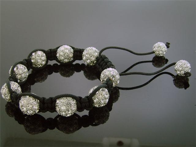 Big White Bead CZ  Bracelet 12MM With Disco Ball