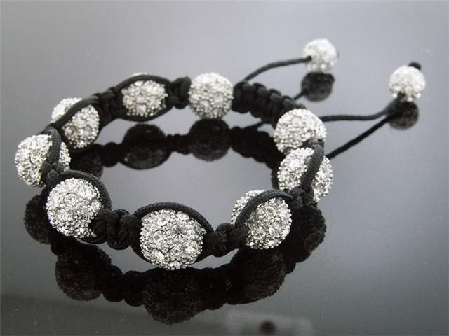 Big White Bead CZ  Bracelet 12MM With Disco BallM