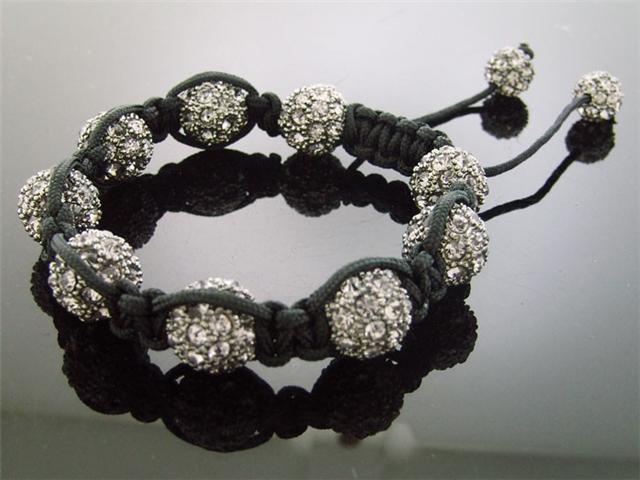 Men Gray Pave CZ Big Bead Bracelet 12MM