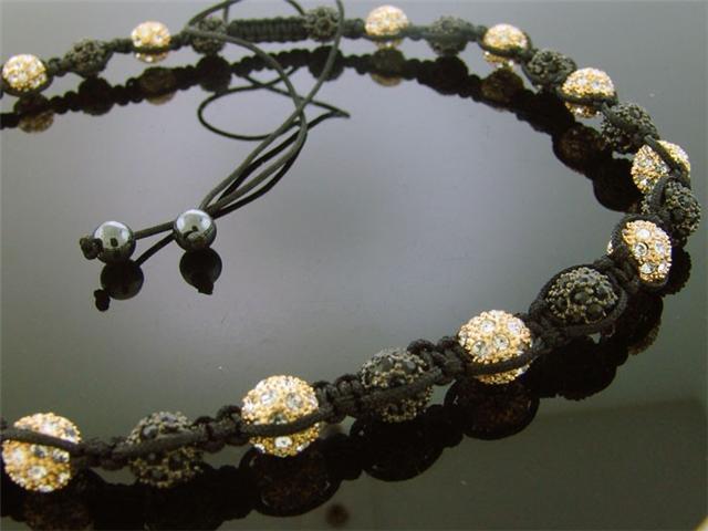Unisex Gold Pave Swarovski Crystal Bead Necklace 22