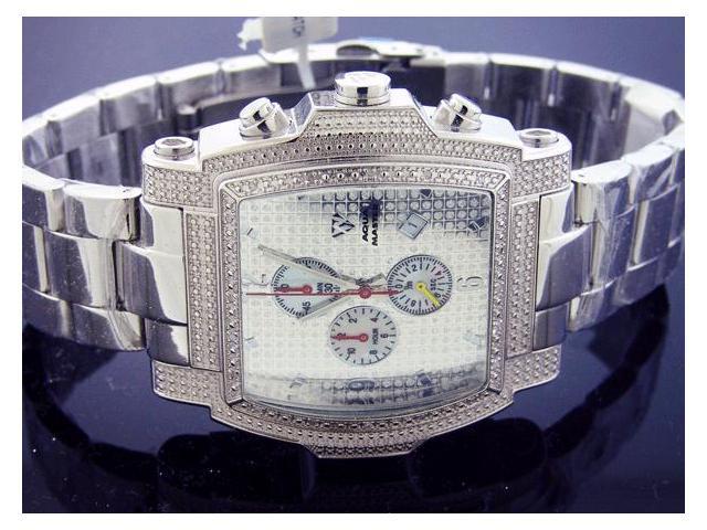 New! Aqua Master Large SQUARE 20 Diamonds SS Watch