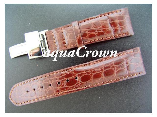 New Aqua Master double pin leather Brown band 24mm