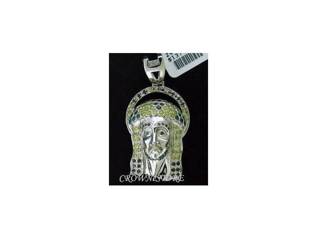 MEN JESUS FACE 14K WHITE GOLD 4.44CTW DIAMONDS PENDANT