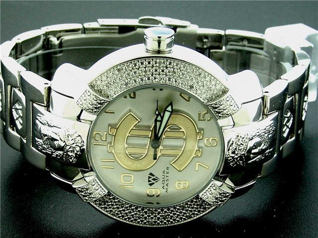 Aqua Master Large Round 20 Diamonds SS Watch with Dollar Sign