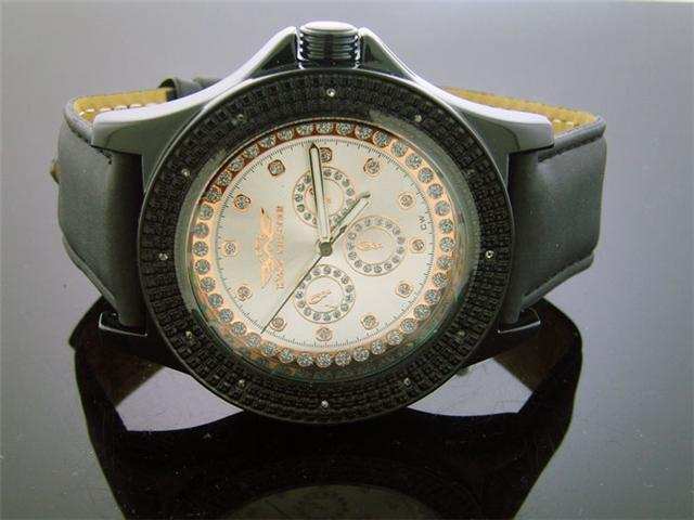 King Master 50MM 12 Diamonds watch Black Case