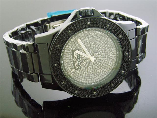 King Master 50MM 12 Diamond Silve Face Black Case watch