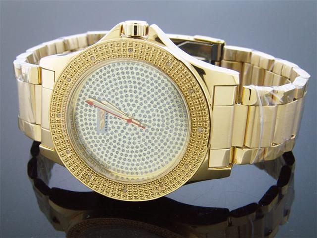 King Master 50MM 12 Diamond Yellow Gold CaseTone watch