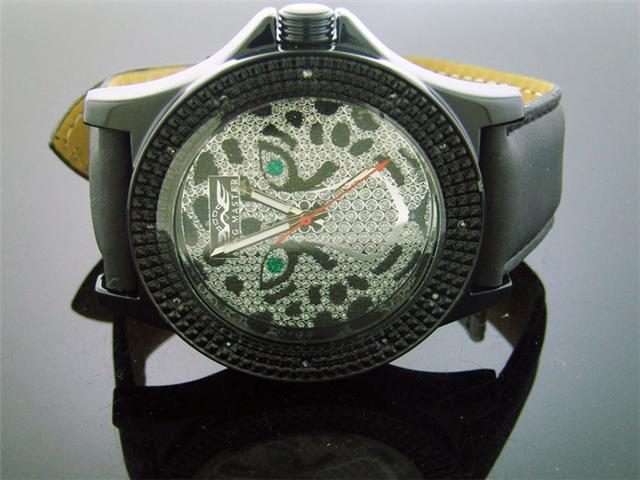 King Master 50MM 12 Diamond Tiger Face Black Case watch