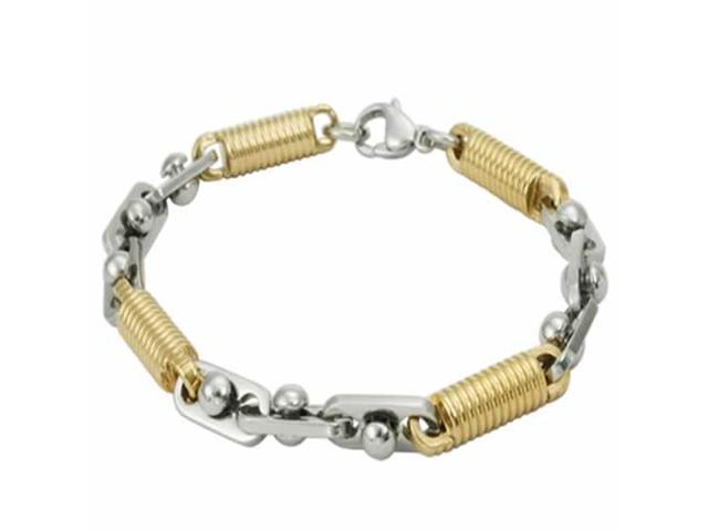 Beautiful Stainless Steel Bracelet With Gorgeous Circular Gold Links (9 in)