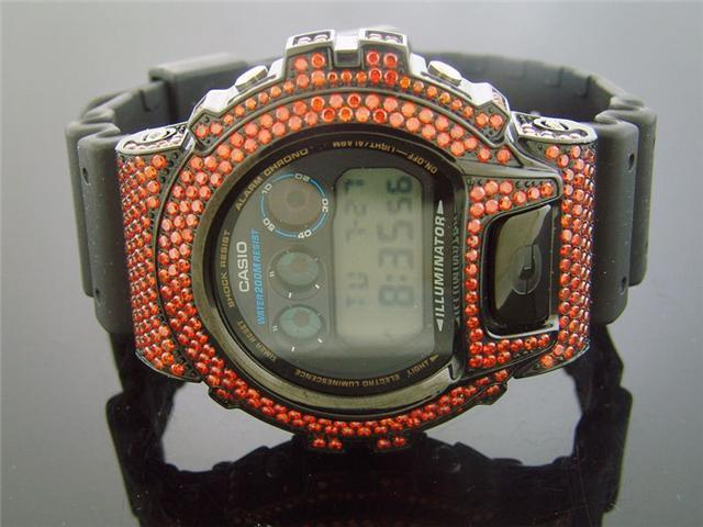Casio G Shock Black Stainless steel Red Full Case CZ Crystal DW6900 Black face