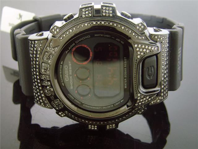 Casio G Shock 3.50Ct Full Case White diamonds Black Face & Band Watch