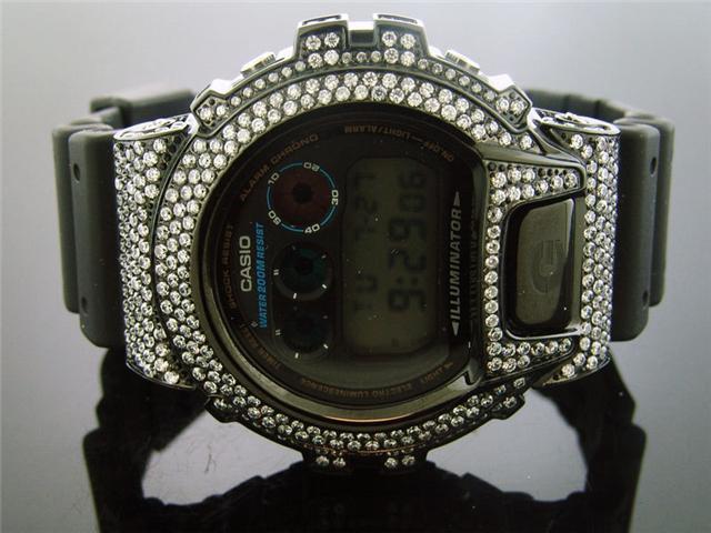 Casio G Shock Black Stainless steel White Full Case CZ Crystal DW6900 Black face