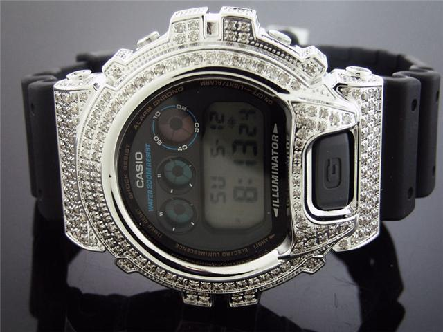 Casio G Shock 4.50Ct Full Case White big diamonds Watch