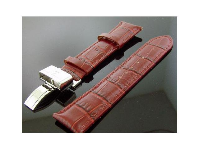 Aqua Master 22MM Wide Redish color (Dark Brown) Genuine Leather Single Pin Band