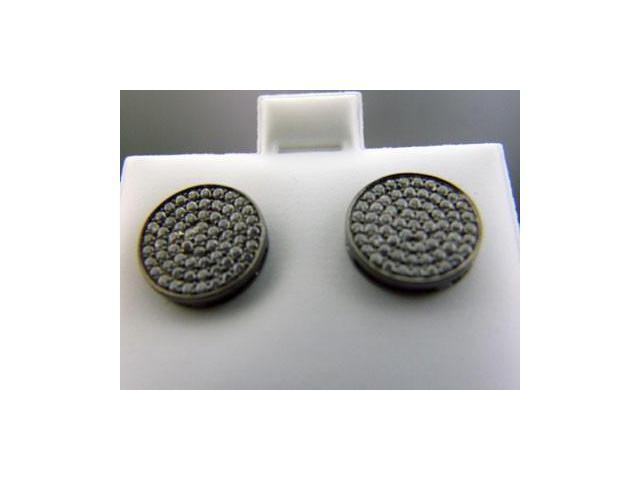 Ladies 925 Sterling Silver Round Hoop White CZ Earrings 11mm Wide Black Case