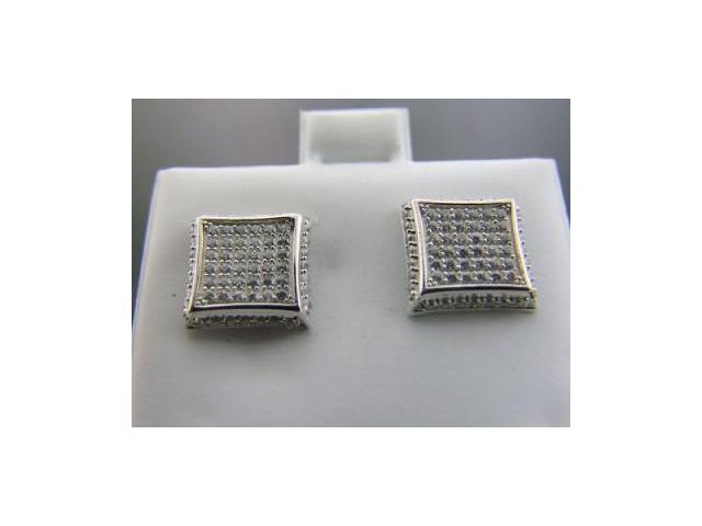 Ladies 925 Sterling Silver Round Hoop White CZ Earrings 10mm Wide
