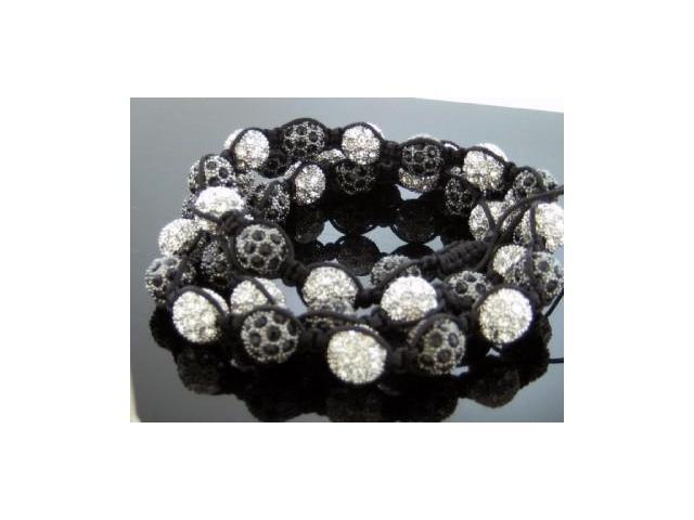 Unisex Black & White Color Big Bead CZ Shamballa Necklace 12MM 34