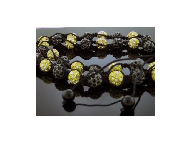 Unisex Black & Yellow Gold Color Big Bead CZ Shamballa Necklace 12MM 34