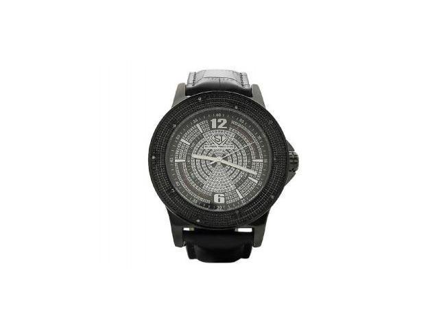 Men's Super Techno by Joe Rodeo 0.10CT Diamonds Watch M6099 Black Face & case