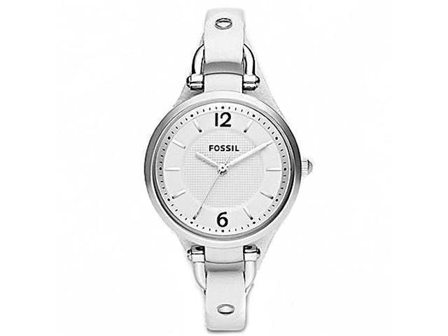 Fossil Georgia White Dial White Leather Ladies Watch ES2829