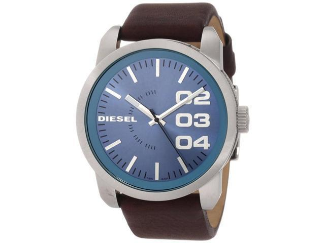 Diesel Blue Dial Brown Leather Strap Mens Watch DZ1512