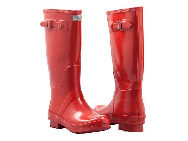 Women's Flat Wellies Rubber Rain & Snow Boots RainBoots * Fire Red * Size 10