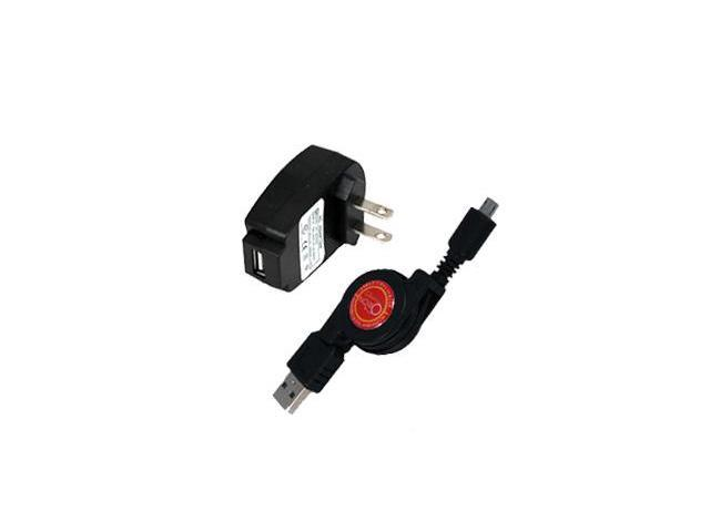 Sanyo Taho Retractable Synch & Charge USB Travel Kit (Retractable USB Cable & AC Adapter)