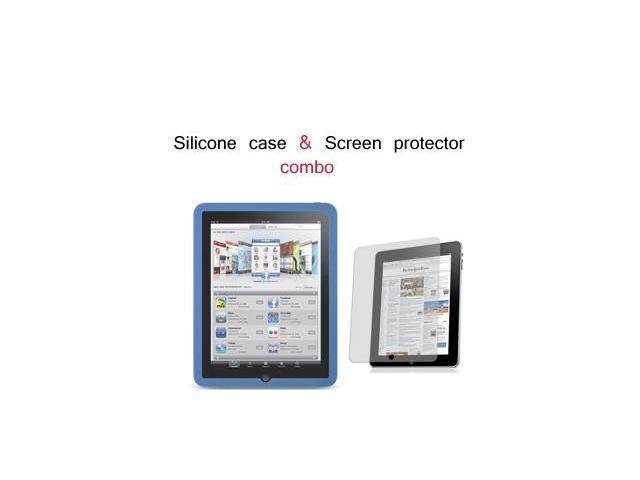 Apple iPad Silicone Skin Case w/ Screen Protector Combo (Blue)