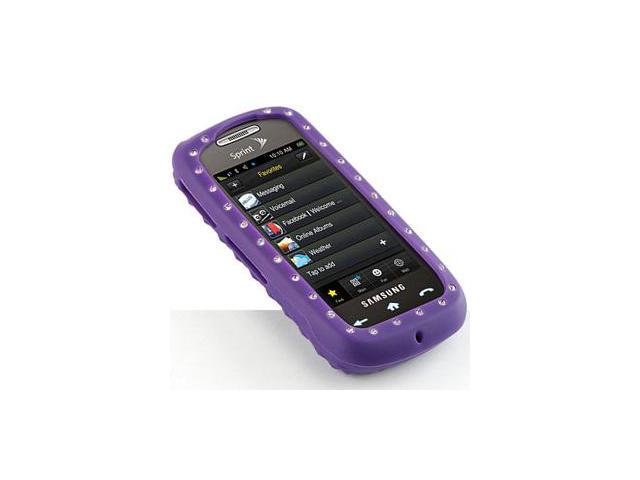 Samsung Instinct S30 Silicone Skin Case - Purple with Diamonds