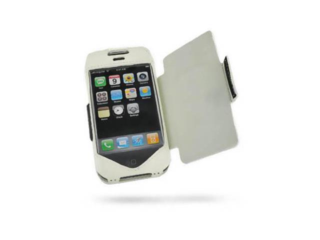 Apple iPhone 1G Leather Sleeve Type Case with Leather Cover (White)