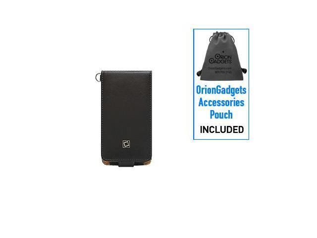 Motorola Droid X Leather Executive Flip Type Case w/ Swivel Clip & Spring Belt Clip (Black)