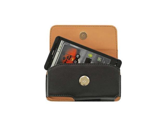 Motorola Droid X Horizontal Noble Leather Pouch Case w/ Removable Spring Belt Clip (Black)