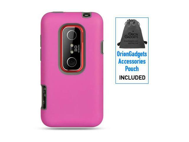 HTC EVO 3D Platinum Rubber Case (Pink on Gray)