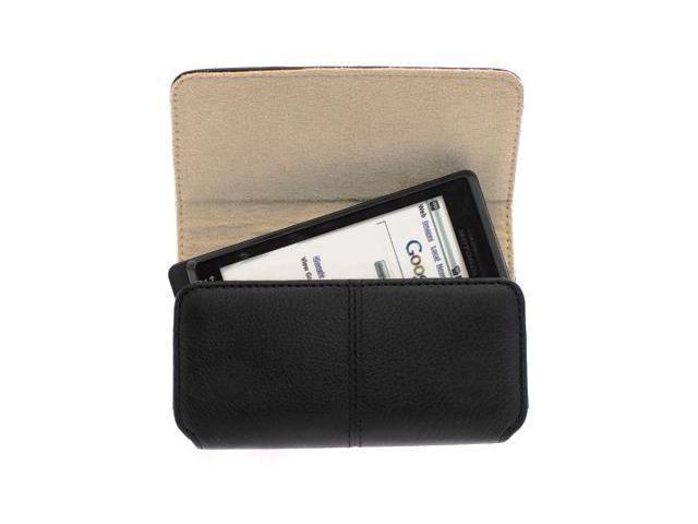 HTC Rhyme Leather Pouch Case w/ Swivel Belt Clip (HTC OEM 70h00297-00m) (Black)