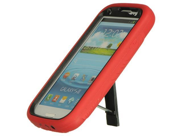 Samsung Galaxy S III Premium Hybrid Case w/ Kickstand (Red on Black)
